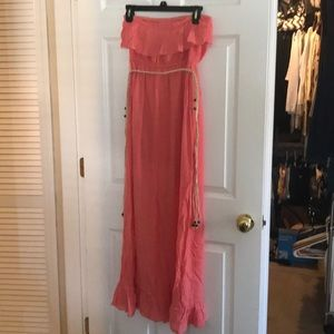 Beautiful coral/orange strapless maxi dress